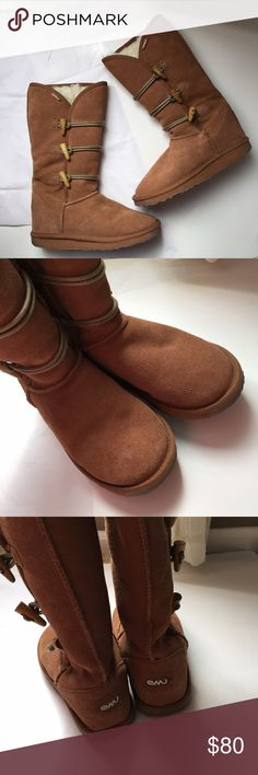 EMU Wool lined Boots! EMU Australia Merino wool lined with a suede upper! Very warm and like new condition! Gently worn maybe one time! Comfortable and cozy! Size women's 6/6.5 Brown color! Emu Shoes Winter & Rain Boots