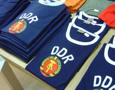 """ GDR T-shirts, for sale in Berlin in 2004 "" Ostalgie. German People, Life Pictures, Soviet Union, Present Day, World War Two, Cheer Skirts, Two By Two, Germany, Memories"