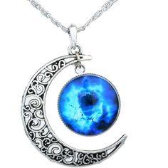 Yantu Black Blue Women's Crescent Moon Galactic Universe Cabochon... ($8.99) ❤ liked on Polyvore