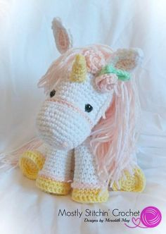PLEASE NOTE YOU ARE NOT PURCHASING A FINISHED ITEM!!!!!!!!!! NO REFUNDS WILL BE ISSUED ONCE THE PATTERN IS SENT If you are looking for a cute Unicorn pattern look no farther! As a child I loved Unicorns of all kinds and I designed this pattern with colors in mind! Make her