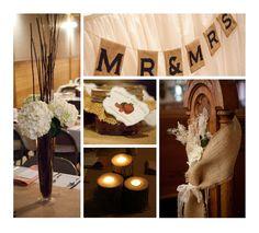 Burlap wedding theme... lights under white table cloth.