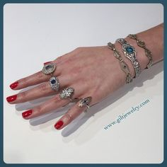 It's time to get fancy! We're going to paint our nails red and stack all of our Art Deco jewelry. All items for sale. Inquire for prices. #giltjewelry #artdeco #sparkle #vintagejewelry #filigree #fancy #rednails #wearjewelseveryday