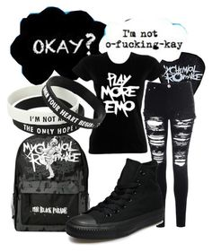 """Not O-F***ing-Kay"" by killjoy-sam ❤ liked on Polyvore featuring Mode, Glamorous und Converse"