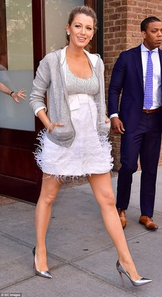 Lean look: Earlier on Tuesday, BLake, who's expecting her second child, accentuated her im...