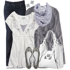 """""""Embellished - White and Gray"""" by sarahschuett on Polyvore"""