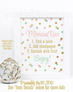 Mimosa Bar Sign - Blush Pink Mint Green Gold Glitter Baby or Bridal Shower Party Ideas - Monograms and Mimosas - Mimosa Bar Printable Sign by SprinkledDesigns.com