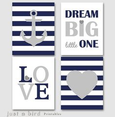 Dream big little one Nautical nursery set by Justabirdprintables