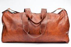 Hemingway Duffle Bag, Real LEATHER WEEKEND BAG, Holdall, Retro, Vintage, gym, Tan Brown, Duffle, Mens on Etsy, $172.53