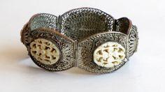 ANTIQUE FILIGREE Carved Ox Bone Bracelet by TheButterflyBoxdeitz, $100.00