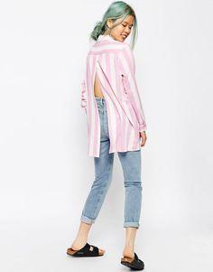 Image 1 ofASOS Open Back Shirt In Pink Stripe