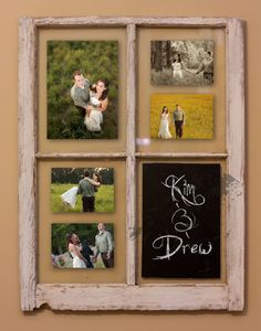Rustic Window Picture Frame - Wedding gift - Wedding show - Picture frame - photos Old Window Frames, Window Art, Window Picture, Picture Frames, Window Ideas, Diy Projects To Try, Crafts To Do, Wood Crafts, Diy Crafts