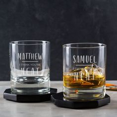 Usher Whiskey Tumbler – Groomsman Gifts – Luxury Wedding Gifts – Party Presents from Bride and Groom – Engraved Old Fashioned Glass – Famous Last Words Bride And Groom Gifts, Father Of The Bride, Bride Groom, 50th Birthday Gifts For Men, 40th Birthday, Birthday Sayings, Birthday Images, Birthday Greetings, Happy Birthday