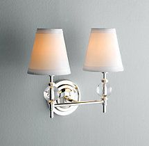 """Wilshire Double Sconce Restoration hardware  uses 60 w candelabra bulb, parchment shades 5""""x7""""x 12"""" also in a single version and 3 finishes of grey metals"""