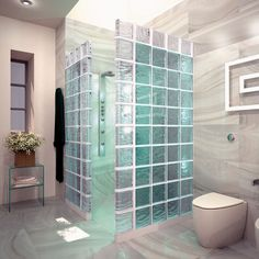 Amazing Glass Brick Shower Division Design Ideas - Page 14 of 41 - Farhah Decor Master Bathroom Shower, Small Bathroom, Modern Bathroom Design, Bathroom Interior, Bathroom Furniture, Kitchen Interior, Glass Block Shower, Glass Brick, Bathroom Pictures