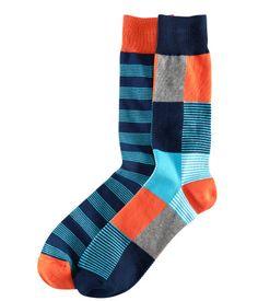 Orange and blue socks. Rock on!