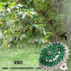 Themed Nature Jewellery – Kadamb Flower Ring for Sawan Ki Teej Diamond with Green Color stones. Forest, tree and flower of Kadamb is mythologically related to Radha- Krishna and Sawan Ki Teej.  from http://www.vardhamnagems.com