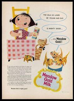 1953 Mary Blair girl cat kitten art Meadow Gold Milk vintage print ad (07/30/2015)