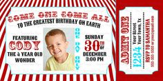 4x8 Carnival Birthday Invitation  Please add in the notes the correct information to put on the card.  You will receive a JPEG and PDF of the