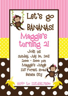 Monkey Birthday Invitation for Dakota Birthday party