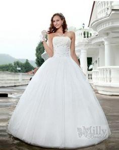 Beads Floor Length Strappless Ball Gown Chiffon White Sexy Wedding Dresses#wedding #dress