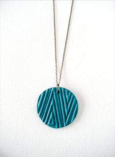 Geometric Polymer Clay Necklace Hand Stamped by AQuietCuriosity, $22.00 (in mint)