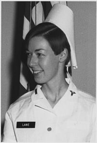 "1st Lt. Sharon Ann Lane, an Army nurse, died from shrapnel wounds in Chu Lai, Vietnam, when a 122mm rocket slammed into the compound. One of her patients wrote, ""Sharon truly epitomized that unselfish healing I received. She gave of her very essence in this greatest act of love, meting out her healing to nourish and restore not only abundant physical wounds, but also by her goodness assuaging insidious mental afflictions that a treacherous war implants in the minds of 'boys next door.'"""