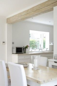 Wood beam ceiling - 50 Affordable White Wood Beams Ceiling Ideas For Cottage – Wood beam ceiling Kitchen Living, New Kitchen, Kitchen Decor, Kitchen Design, Kitchen Wood, Kitchen Cabinets, Craftsman Kitchen, Farmhouse Kitchens, Kitchen White