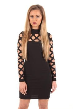 Black caged long sleeved dress