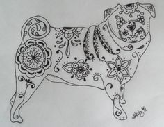 Sugar Skull Pug Pen and Ink Drawing  9x12 by SpunSugarMenagerie, $25.00