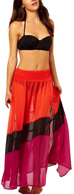 Gorgeous beach wear Three Color Splice Chiffon Skirt is on sale now for - 25 % !