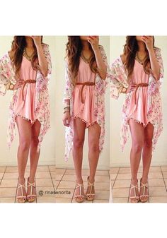 Pink Best Dressing Ideas with Pink Outfits Floral Crop Sleeves Kimono - Fashion: Gorgeous Summer outfits Teen fashion Cute Dress! Clothes Casual Outift for Girly Outfits, Summer Outfits, Cute Outfits, Summer Dresses, Summer Clothes, Beach Clothes, Beach Outfits, Beach Dresses, School Outfits