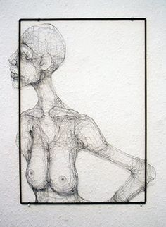 An Imaginary Portrait: Continuous line drawing with wire - Fiona Morley