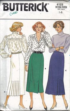 1986 Butterick pattern for a semi-fitted, straight skirt featuring pleat variations at hem, side zipper, and narrow waistband.  The pattern is uncut; all pieces and instructions are present. Envelope is worn with some writing, but otherwise in good condition.  Size 14; waist 28 inches (71 cm); hips 38 inches (97 cm).  At Liberty Knits and Vintage, we pride ourselves on excellent customer service! Your purchase will be packed carefully and shipped as quickly as possible - most orders ship…