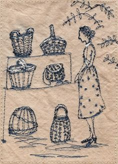Betty is bamboozled by the display of handmade baskets....