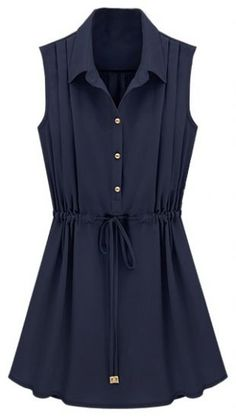 To find out about the Navy Sleeveless Drawstring Waist Pleated Chiffon Shirt Dress at SHEIN, part of our latest Dresses ready to shop online today! Chiffon Shirt Dress, Navy Shirt Dress, Dress Skirt, Chiffon Skirt, Sleeveless Shirt, Dress Red, Cute Dresses, Casual Dresses, Fashion Dresses