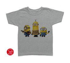 Minions with Stupid Kids T Shirt Gray