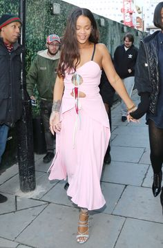 Rihanna Parties 'Til the Early A.M. in a Pretty Pastel Pink Dress from InStyle.com
