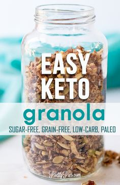 Irresistibly crisp and delicious! An EASY homemade keto granola recipe that's super quick --ready in less than 10 minutes. No oven! Grain-free, sugar-free and paleo. Great low-carb breakfast as cereal or on yogurt. meals no oven Easy Keto Granola Keto Foods, Keto Snacks, Healthy Recipes, Low Carb Recipes, Diet Recipes, Bread Recipes, Cooking Recipes, Jelly Recipes, Sausage Recipes