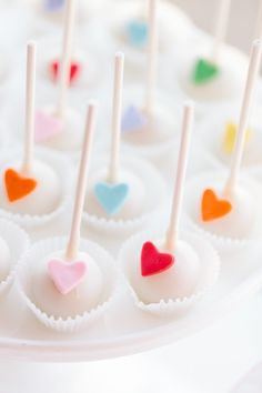 Sweet and simple heart cake pops.
