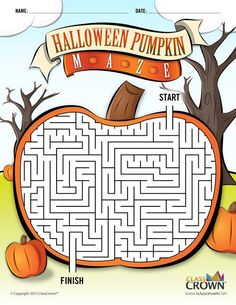 ClassCrown™ Halloween Pumpkin Maze - Check out this cool pumpkin maze for the kiddos this Halloween. It's free! Halloween Puzzles, Halloween Maze, Halloween Worksheets, Halloween Activities, Holidays Halloween, Halloween Kids, Halloween Themes, Halloween Pumpkins, Halloween Crafts