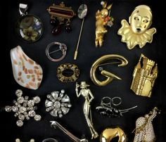 Assorted Vintage Brooches, Fashion Jewelry