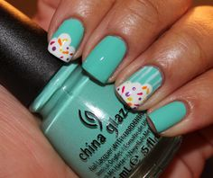 #cupcake nails! Super easy and so cute! #nailart #manicure