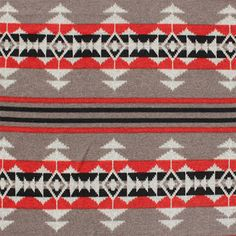Navajo Indian Blanket Red Mushroom Hacci Sweater Knit Fabric - A Girl Charlee Favorite!!  On trend navajo ethnic design in colors of red, black, and mushroom beige Hacci sweater knit.  Fabric is true medium weight with a tight weave and good stretch. Repeat measures 28 1/2.  :: $7.50