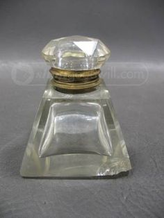 shopgoodwill.com: Vintage Clear Glass Ink Well w Glass Knob Handle