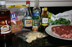 these are the ingredients needed to make broccoli beef from scratch in the crockpot slow cooker