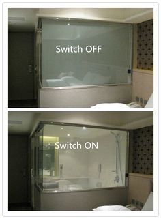 LCD Smart Glass balances perfectly between stylish glass partitions and the privacy of a traditional wall Low power consumption Sensor capabilities Private to transparent in 1 millisecond Optional colors and graphics available Solar reduction up to - i Smart Glass, Smart Home Technology, Glass Bathroom, Bathroom Tv Mirror, Door Mirrors, Privacy Glass, Suites, Home Automation, Glass Design
