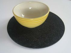 Four Charcoal Gray l Industrial Felt Placemats Round by Jackwood, $56.00