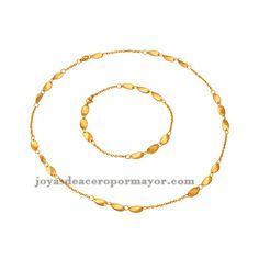 juego de collar y pulsera en acero moda especial dorado inoxidable para mujer…