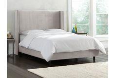 Kelly Velvet Wingback Bed, Dove
