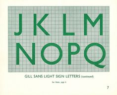 British Railways Standard Signs Manual - Gill Sans Light sign letters - L to Q, 1948 by mikeyashworth, via Flickr